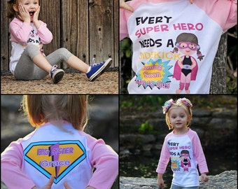 Big sister superhero or sister to be Every Super Hero needs a Sidekick pregnancy announcement comic personalized