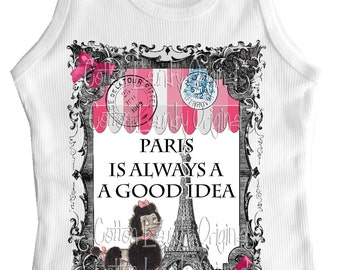 Paris Shirt Vintage French Poodle Tank Tee Custom Size Retro Eiffel Tower