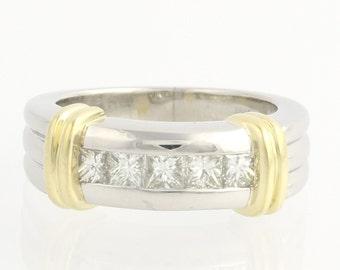Men's Diamond Wedding Band Two Toned Ring - Platinum & 18k Yellow Gold 1.00ctw F9409