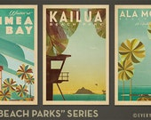 Oahu Beach Parks Series  - 12x18 Retro Hawaii Prints