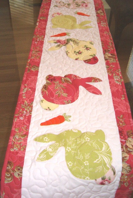 Easter Spring Quilted Table Runner Appliqued Bunnies In