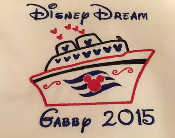 Autograph Pillowcase or Tee!! Embroidered Personalized Perfect for a Disney Vacation Cruise