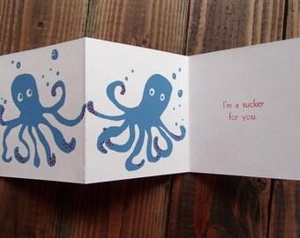 Octopus Screenprint Letterpress Folding Accordion Card Quirky Valentine's day Love Art