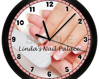 Personalized Custom Nail Salon Wall Clock Manicure Pedicure Decor