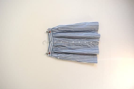 vintage blue and white vertical striped skirt chambray