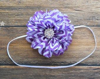 Purple chevron headband, elastic headband, baby headband, infant headband, newborn headband, baby girl, girl headband, photo prop, baby gift