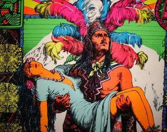 "SALE Fantastic  Original   Black light ""The Sleeping Princess "" Flocked Poster 1976"