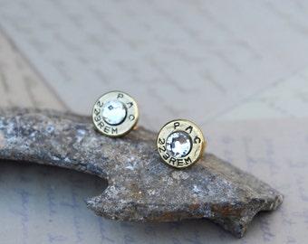 Bullet Earrings 223 Bullet Casings Post/Stud Earrings with Crystal Swarovski Gems