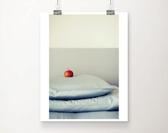 red apple photograph food photography bed photograph still life photography fruit photograph apple print kitchen wall art