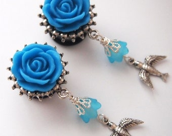 9/16 14mm 316L In Flight Blue Bird Dangle Plugs for Stretched ears