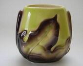 VASE, Vintage Royal Copley Brown and Green Leaf Vase