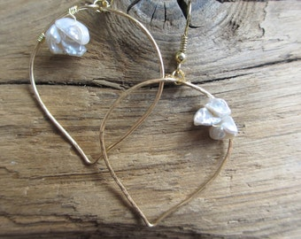 Lotus Pearl Hammered Earrings - Keishi Pearl Cluster and Gold Wire Wrapped Lotus Leaf Artisan Jewelry