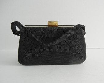 Vintage 1940s Purse, 40s Black Cordé Purse, Vintage Black Handbag, Vintage Black Corded Purse, Retro 40s Box Purse, Vintage Box Purse