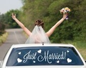 Car Window Vinyl Temporary Sign Lettering Just Married Vehicle Rear Back