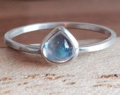 Holiday Sparkle Natural Cabochon Teardrop Moonstone Ring Handmade Bezel Setting and band
