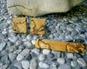 TIE Clip CUFFLINKS Set - Wooden Spalted HAZELNUT Wood Tie Clip/Cufflinks Set, Handmade