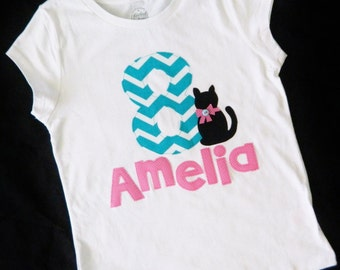Girl, toddler, baby personalized turquoise blue chevron birthday number / initial, name applique SHIRT, black cat kitten, hot pink name