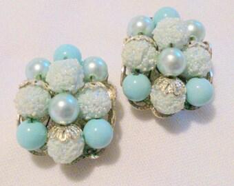 Vintage Baby Blue Bead Cluster Earrings