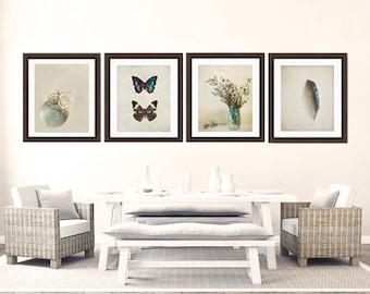 Rustic blue home decor print set, butterfly set, flower photo set, feather print, fine  art print, wall decor set. turquoise blue print set