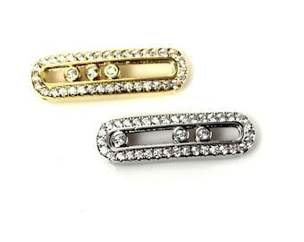 Pendant Bar - Sterling Silver or Gold Cz Bar Connector - Sideways Bar, Bracelet Connector, Floating Crystals, Oval Pendant, Floating CZ Bar