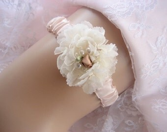 Romantic Blush  Wedding Garter,  Hand-dyed Garter Wedding Garter Bridal Garter other colors too