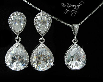 White Crystal Bridal Earrings Teardrop Bride Necklace Cubic Zirconia Wedding Jewelry CZ Bridesmaid Gift Sterling Earrings Wedding Pendant