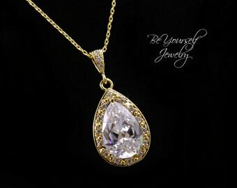 Gold Bridal Necklace Wedding Jewelry Cubic Zirconia Bride Necklace White Crystal Teardrop Pendant CZ Wedding Necklace Gold Bridesmaid Gift