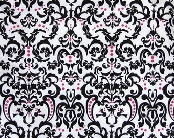 Damask - Pink Fabric - Black Fabric - White Fabric - Fabric - Yard - Boy - Girl -  Quilting -  Sewing - Textiles  - Cotton