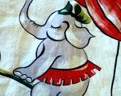 Vintage Barkcloth curtains Circus theme Elephants Cat and a fiddle Poodle accordian Big Top