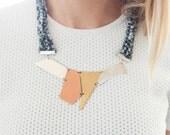 Knitted Fabric Necklace w/ Asymmetric Multi Metal Pendants - SALE