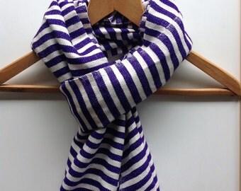 Purple scarf- Amethyst purple & White  Wool scarf- Cotton wool blend striped handwoven scarves- men or women purple scarves-Ethiopian scarf