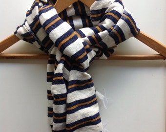 Scarf - scarves & wraps - Navy Curry Yellow wool cotton blend scarf- Men man wool scarfs-woven scarf accessories