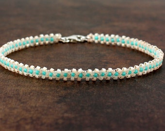 White and Aqua Anklet - Bead Ankle Bracelet - Summer Chain Anklet - Beach Beaded Foot Jewelry - Seed Bead Anklet