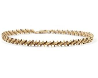 Gold Bead Bracelet - Layering Bracelet - Seed Bead Jewelry - Beaded Bracelet - Beadwork Jewelry - Friendship Bracelet