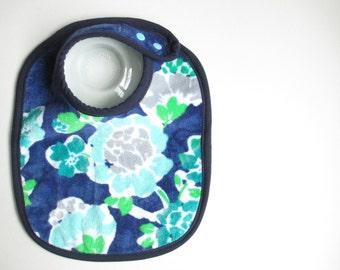 EcoBib--Adjustable Snap Closure--Modern Deep Blue & Aqua Florals--Ready to Ship