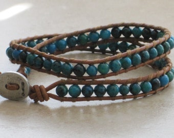 Turquoise Bead Leather Wrap Bracelet