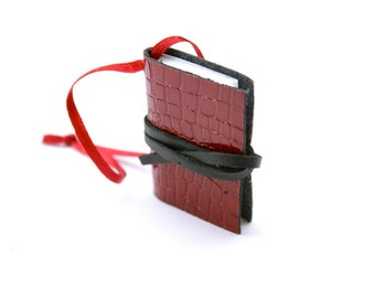 Miniature Book Ornament - READY TO SHIP Red Leather Book