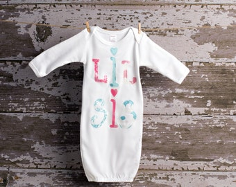 Lil Sis Baby Gown size newborn to 3 months