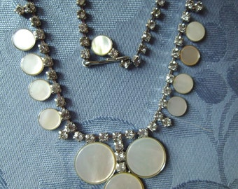 Vintage Faux Mother of Pearl Necklace Earrings Rhinestones KARU Jewelry