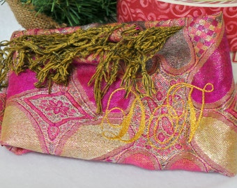 Sister In Law Gift, Metallic Pashmina Shawl, Gift For Her, Holiday Wear, 3 Ply, GIFT WRAPPED