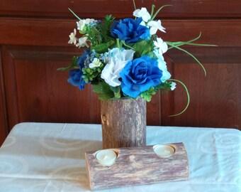 Rustic Home Decor, Log Vase & Candle Holder, Blue Home Decor