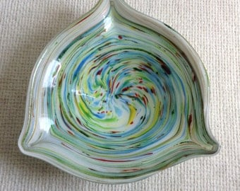 Art Glass Bowl, Multicolored swirl cased glass Dish.  Mid century modern, Danish Modern, Eames era.  Vintage 1960.
