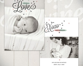 Valentines Day Card Template: Hello Love B - One 5x7 Baby Valentine Card Template