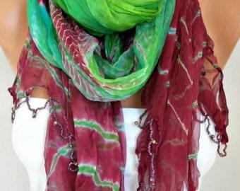 Batik Silk Scarf,Evening Wrap,Wedding Scarf,Christmas,Bohemian Shawl,Cowl Bridal Accessories Bridesmaid Gift Ideas For Her Women Fashion