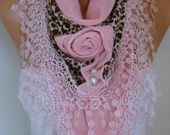 Pink Knitted Floral Scarf Shawl Cowl Lace Bridesmaid Gift Bridal Accessories Gift Ideas For Her Women Fashion Accessories Valentine's  Gift