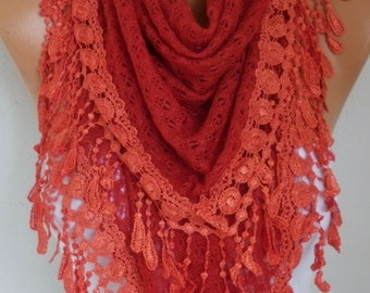 Red Knitted Lace Scarf, Shawl, Winter Scarf , Cowl Oversized Bridesmaid Bridal Accessories Gift Ideas For Her, Women Fashion Accessories