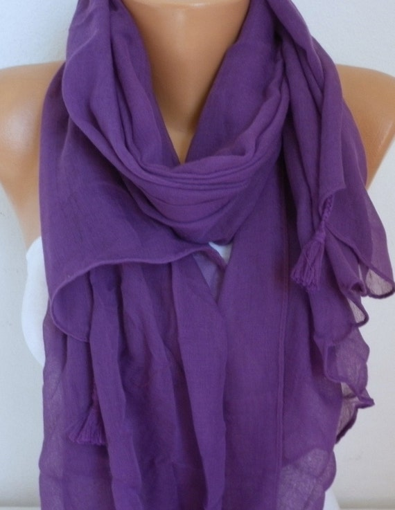 Purple Cotton Tassel Scarf, Shawl, Fall Summer Scarf, Cowl Oversized Wrap Gift Ideas For Her Women Fashion Accessories Mother Day Gift