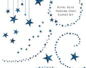 Sparkling Blue Glitter Star Clipart, Swirling Stars Clip Art, Instant Download, Commercial Use Glitter Clipart