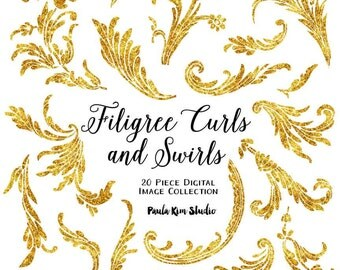 Filigree Feather Flourishes, Gold Glitter Clipart, Wedding Invitation Clip Art, Instant Download, Commerical Use