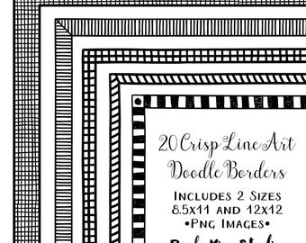 Digital Frame Clipart, Doodle Border Clip Art, Instant Download, Commercial Use, Hand Drawn Line Art Frame Clip Art